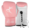 Pink Leather Boxing Gloves Cuff with Laces Closure